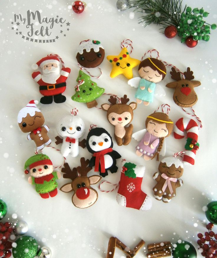 Christmas ornaments felt SET of 16 ornament Christmas felt Decor Big set cute…