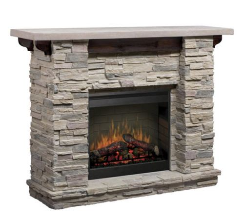 Stacked-Stone-Electric-Fireplace-Fire-Wood-Logs-Free-Standing-Adjustable