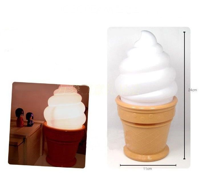 Novelty Ice Cream Cone Shaped Night Light Desk Table Lamp Kids Children Party