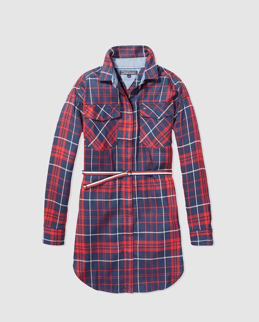 Vestido camisero de niña Tommy Hilfiger de cuadros