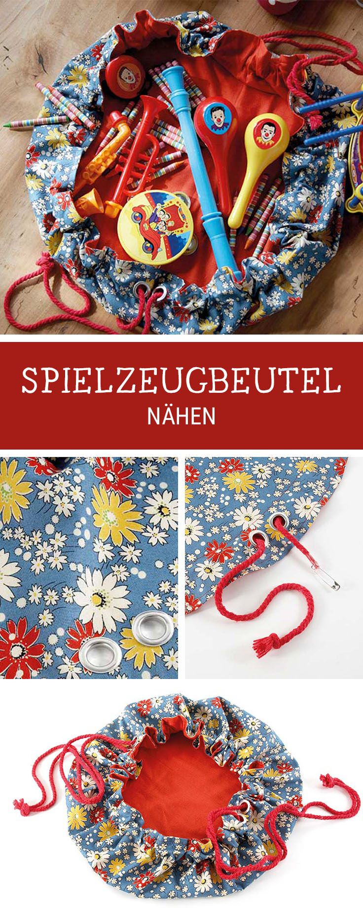 Praktische Spielzeugtasche nähen fürs Kinderzimmer, Ordnung schaffen / get rid of the chaos in the nursery: sewing pattern for an utensilo, toy bag via DaWanda.com