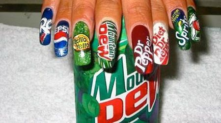 This is so weird but cool and interesting....Soda themed nails!