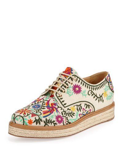 S0DN1 Sergio Rossi Embroidered Canvas Espadrille Sneaker, White