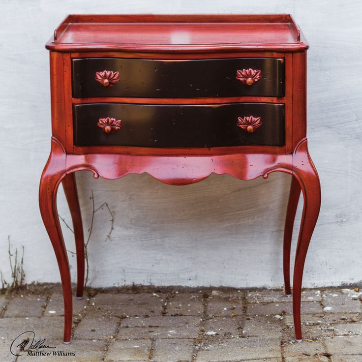 Superb Uttermost Yadira Wood Side Table In Red And Black With 2 Drawers