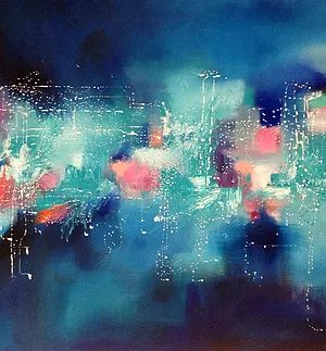 """Atlanditde"" oil on linen Abstract art by Catherine Hiller"