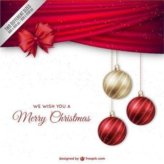 Fondo de navidad con adornos elegantes y lazo rojo