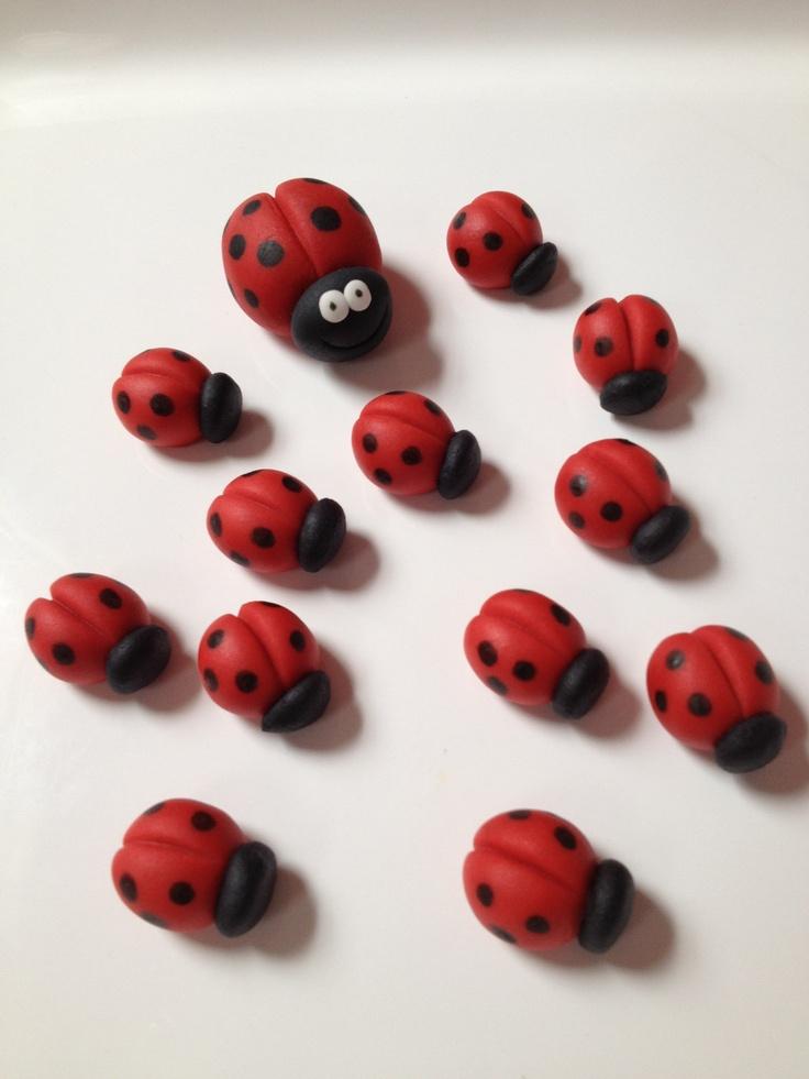 Edible Fondant 1 big and 11 small Ladybugs for Cake, Cookie, Cupcake Decoration. $15.00, via Etsy.