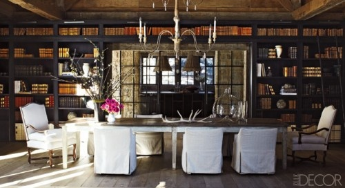 More library dining room. Even better: a library ladder.: Dining Rooms, Rustic Rooms, Dreams Houses, Rustic Elegant, Elle Decor, Skiing Houses, Books Shelves, Rustic Chic, Mountain Home