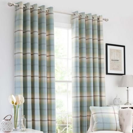 Dunelm Draughts Duck Egg Blue Highland Tartan Check Lined & Cream Eyelet Curtains (117cm x 137cm)