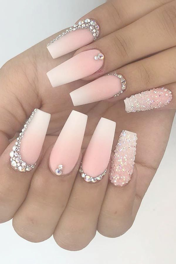 Home Blend Of Bites Nails Design With Rhinestones Rhinestone Nails Coffin Nails Long