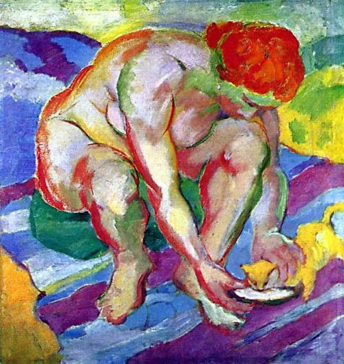 Franz Marc (German, 1880-1916) - The Nude with a Cat (1910)