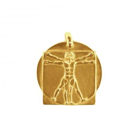 Pendentif homme de Vitruve carré et rond en or Tournaire