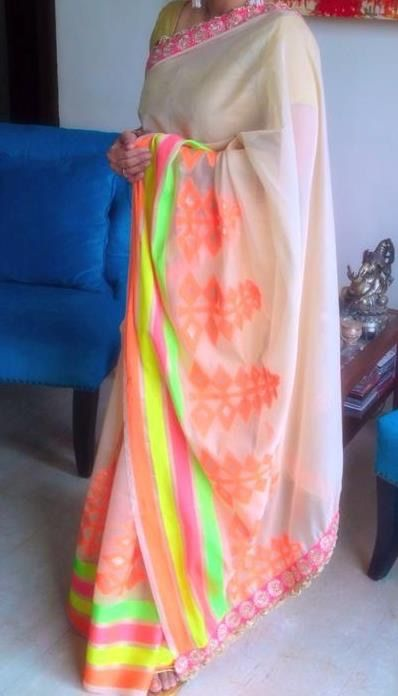 Off white chanderi with neon weave