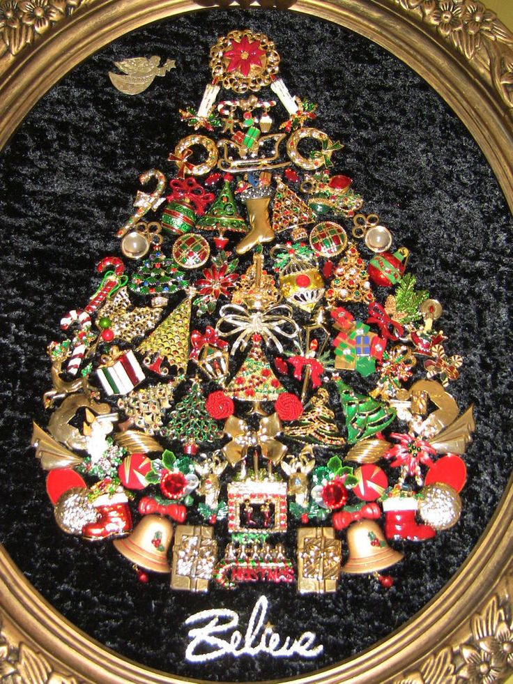 "Vintage jewelry CHRISTMAS TREE framed picture made with vintage jewelry""BELIEVE"""