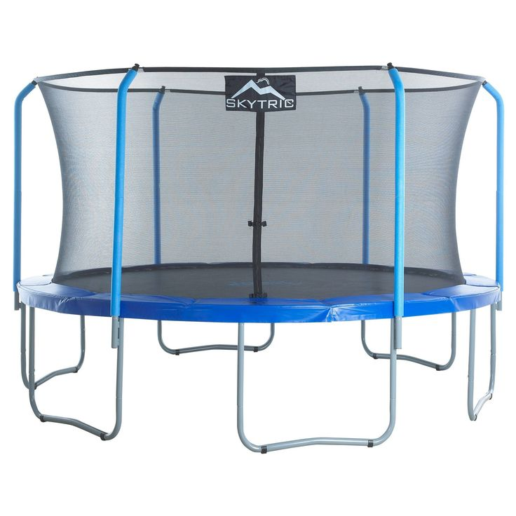 """Skytric 15' Trampoline with Top Ring Enclosure System equipped with the """"Easy Assemble Feature"""", Blue"""