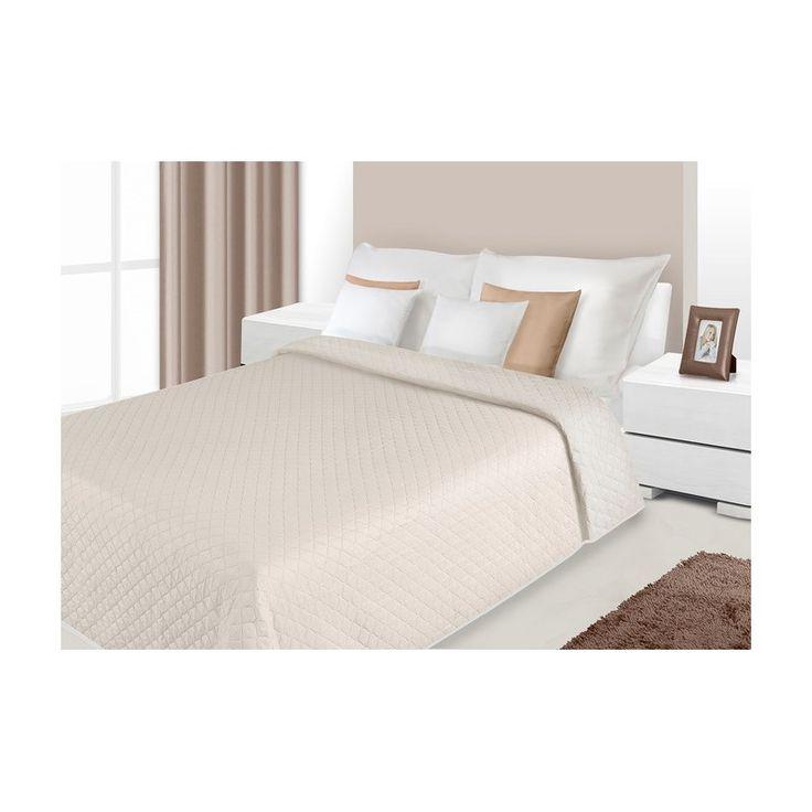 Prošívané oboustranné deky a přehozy na postel béžové barvy
