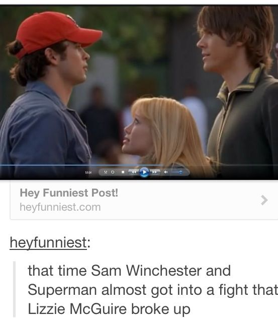 """Uhm, sorry to burst your bubble. This is an episode of Gilmore Girls. Dean (Sam Winchester) and Louis (""""Superman"""") are fighting over Beth (Hilary Duff). This is a flashback on Deans decision about dating Rory. Get yo' facts straight."""