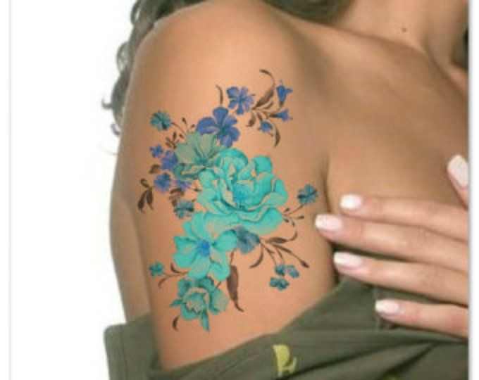 Temporary Tattoo Waterproof Flower Ultra Thin Realistic ...
