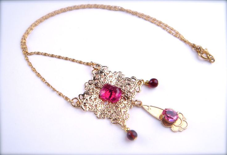 Vintage Czech Glass Pendant Necklace Art Nouveau Filigree Gold Fuchsia Pink #Unbranded #Pendant