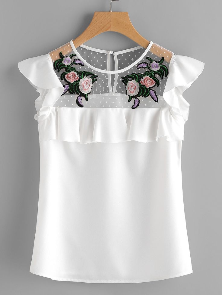 Shop Flower Patched Dot Mesh Yoke Frill Cap Sleeve Top online. SheIn offers Flower Patched Dot Mesh Yoke Frill Cap Sleeve Top & more to fit your fashionable needs.