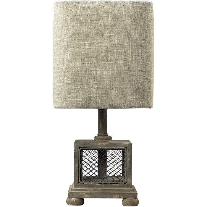 Farmhouse Table Lamp I like the fabic on the shade, colour, texture Jcb