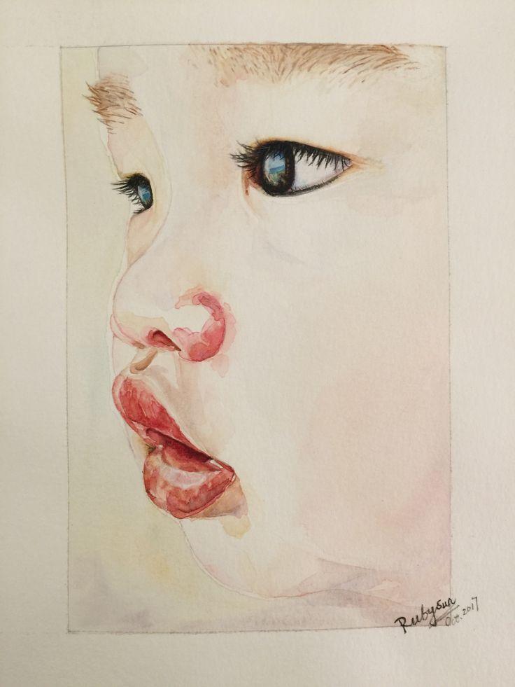 Mon Bébé / Watercolor / eyes / figure