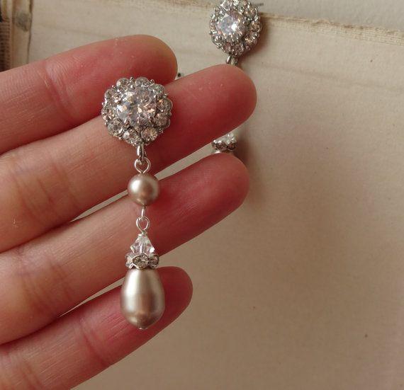 Champagne Pearl Bridal Earrings, Vintage Style Rhinestone
