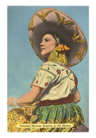 Vintage Mexican lady postcard