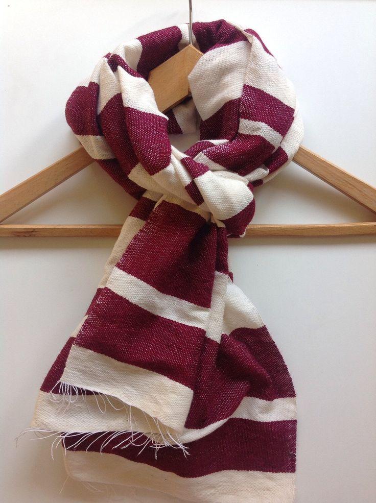 MAROON Scarf/ Cotton wool burgundy scarf/ Men Women hand ...