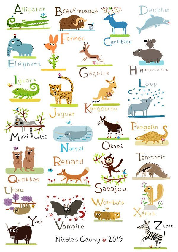 Abecedaire Des Animaux Sauvages Animaux Alphabet Animaux Sauvages Lettres Animaux