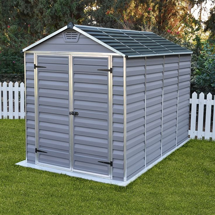 This Anthracite Grey Wide By Deep Palram Skylight Shed Offers Easy Access  Through Its Double Doors And Plenty Of Space To Store Those Gardening And  ...