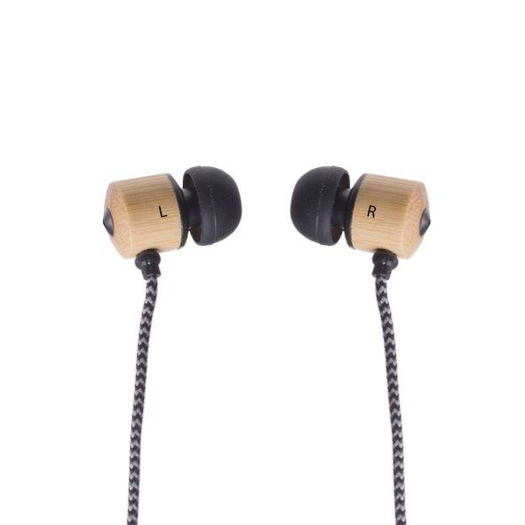 COD.BU028 Audífono con accesorios de Bambú, y cordón Trenzado Blanco Negro.
