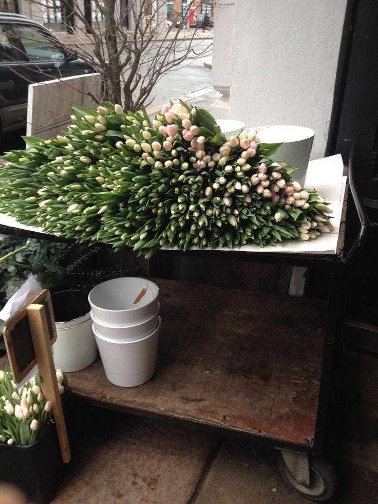 pakket ut tulipaner på et bord utenfor innganen partiet til butikken