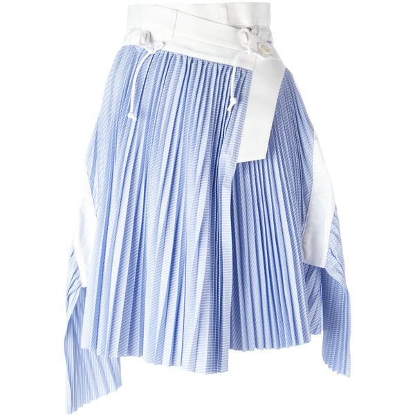 Sacai wrap micro pleat skirt ($1,082) ❤ liked on Polyvore featuring skirts, blue, leather skirt, wrap skirts, pleated leather skirt, blue skirt and real leather skirt