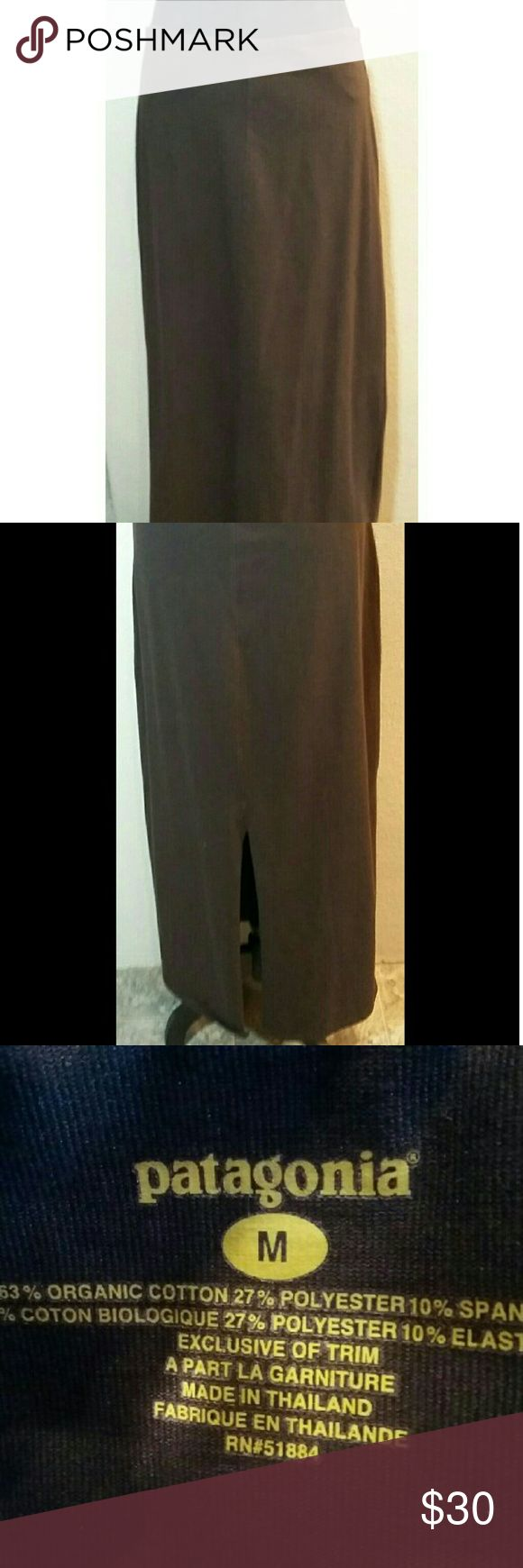 "Patagonia brown maxi skirt Long simple skirt with a little spandex.  Has hidden pocket in back at waistline. Waist 32"", length 37"". Patagonia Skirts Maxi"