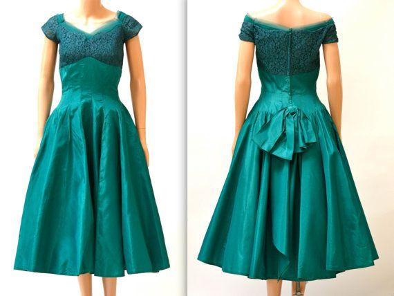 1950s Vintage Prom Dress Size Small Medium Teal by Hookedonhoney