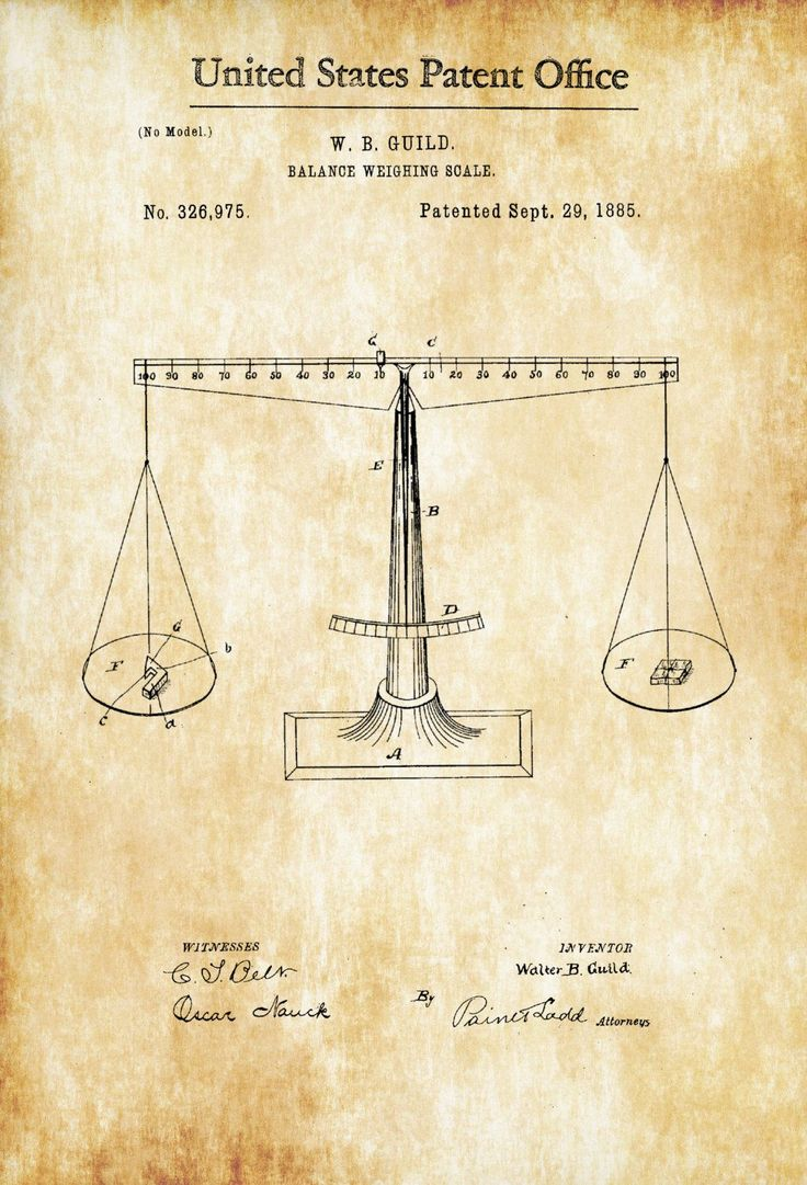 A patent print poster of a Balance Weighing Scale, which I call the Scales of Justice, invented by W. B. Guild. The patent was issued by the United States Patent Office on September 29, 1885.Patent prints allow you to have a piece of history in your Home, Office, Man Cave, Geek Den or ...
