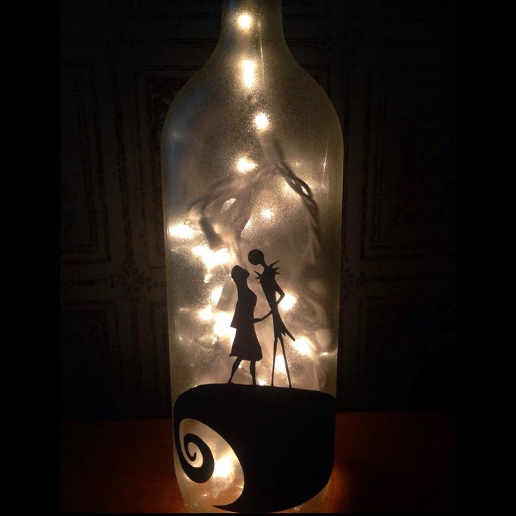 Nightmare Before Christmas Wine Bottle L& / Jack and Sally / Weddingu2026 & 33 best My Etsy Shop images on Pinterest | Bottle lights Wine ... azcodes.com