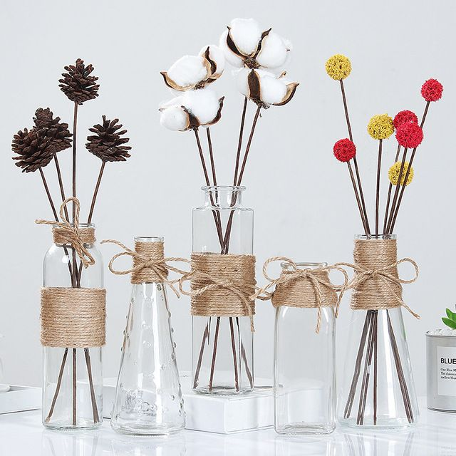 Creative Nordic Glass Vases Living Room Table Decoration Transparent Water Hydroponics Flower Rope Dry Flower Vase Diy B Flower Vase Diy Diy Vase Flower Bottle