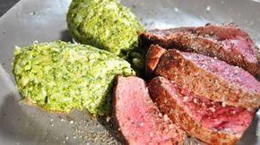 Tournedos van rundvlees en broccoli. Alternatief: met ei, gerookte zalm en blokjes tomaat en komkommer op wokken en erbij