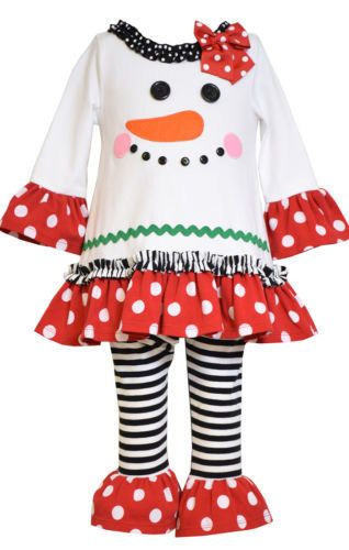 Bonnie Jean Girls Christmas Holiday Frosty Snowman Tunic Pant Outfit 2T 3T - Bonnie Jean Girls Christmas Holiday Frosty Snowman Tunic Pant Outfit