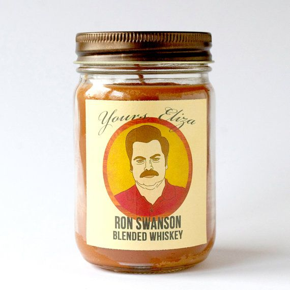 Ron Swanson whiskey scented candle. Light this candle, cook up some eggs and bacon, and have yourself a quality Swanson time.