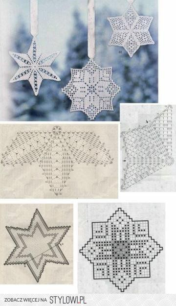 #_BLUEFLAKES Crochet Ornaments with charts.
