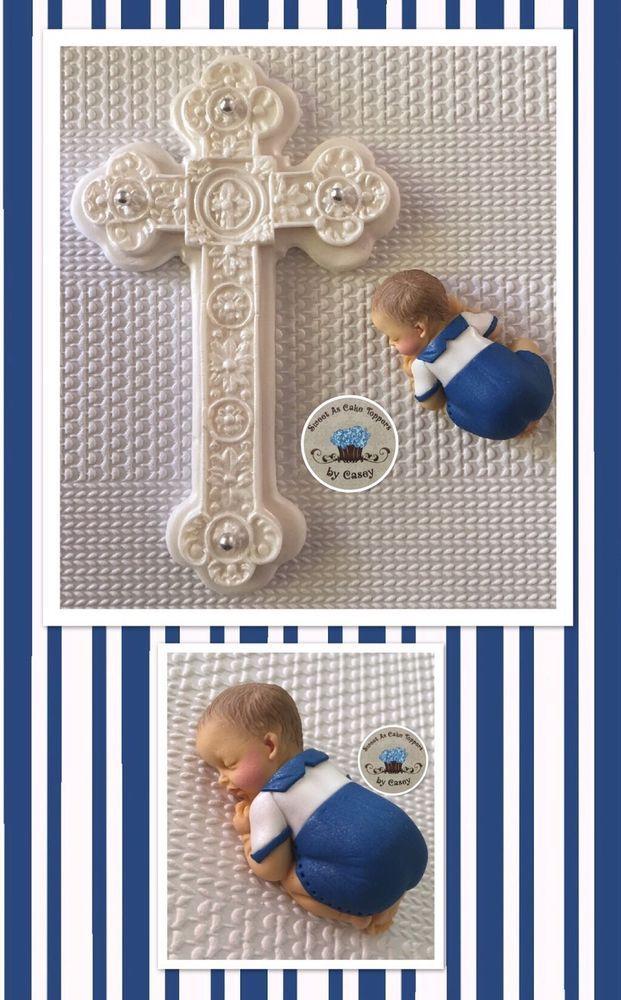 Navy Blue & White Baby Boy + Cross Christening Cake Topper. Decoration. Baptism  | eBay