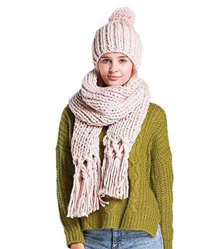 #LvRao #Damen #Warme #Winter #Schal und #Mütze #Set #Lang #Quaste #Schal #Strick #Bommel #Gestrickter #Mütze #