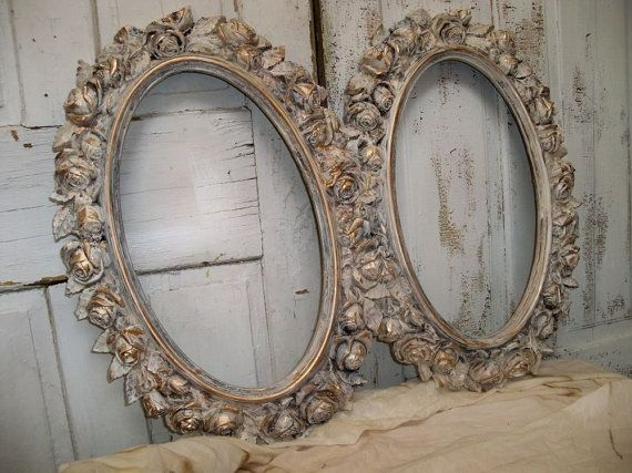large oval frame set grouping shabby chic distressed white rose pattern style wall decor anita spero shabby vintage and frames