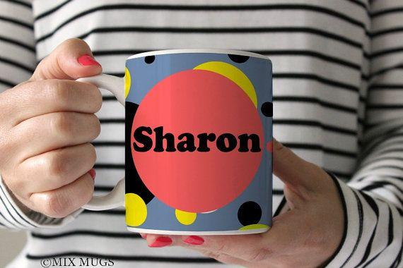 Personalized Mug, Mug With Name, Design Your Own Mug, Name Mug Polka Dot Mugs Pattern Mugs, Mugs for Her Personalized Cups Ceramic Mug P7311