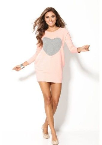 Štýl! :) #modino_sk #modino_style #dress #style #fashion #pink #heart #longsleeves #shortdress
