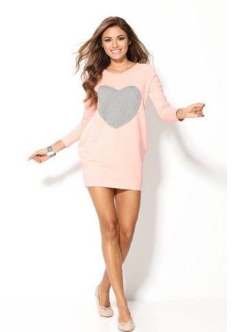 Štýl! :) #modino_sk #modino_style #dress #style #fashion #pink #heart #longsleeves #shortdress