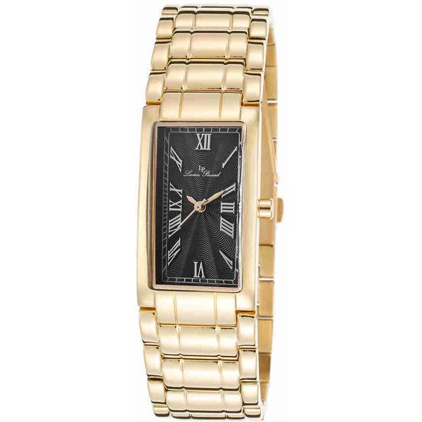 Lucien Piccard Marchesa Ladies Watch ($266) ❤ liked on Polyvore featuring jewelry, watches, rectangular watches, rectangle dial watches, black face watches, quartz movement watches and lucien piccard watches